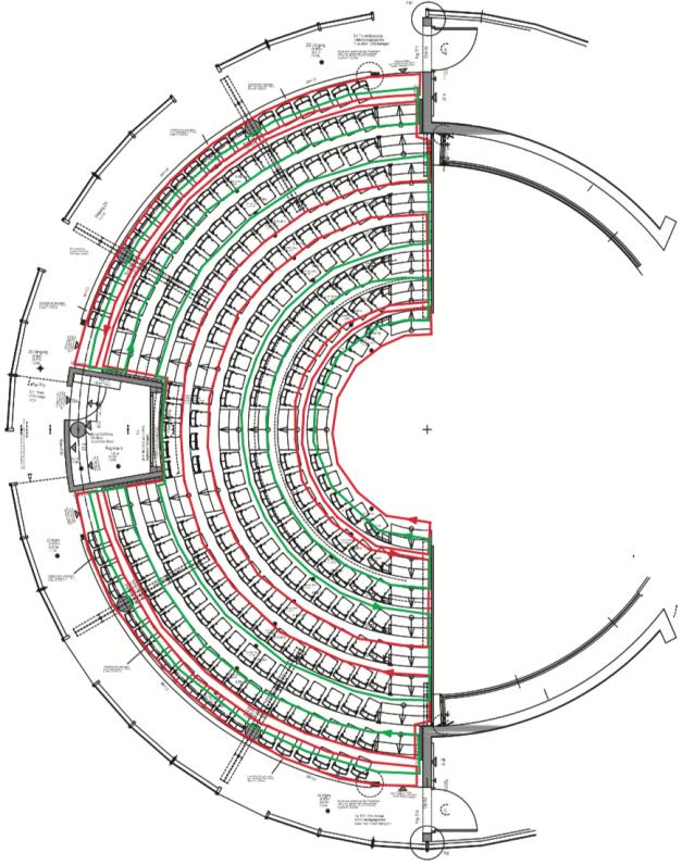 Das Bild zeigt den Verlauf für eine induktive Hörschleife in einem Theater.