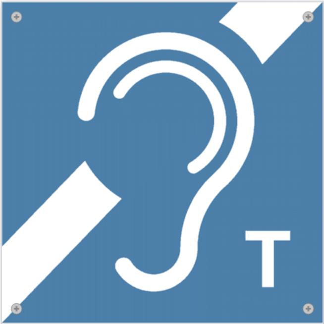 Das Bild zeigt ein normengerechtes Piktogramm für eine induktive Höranlage.