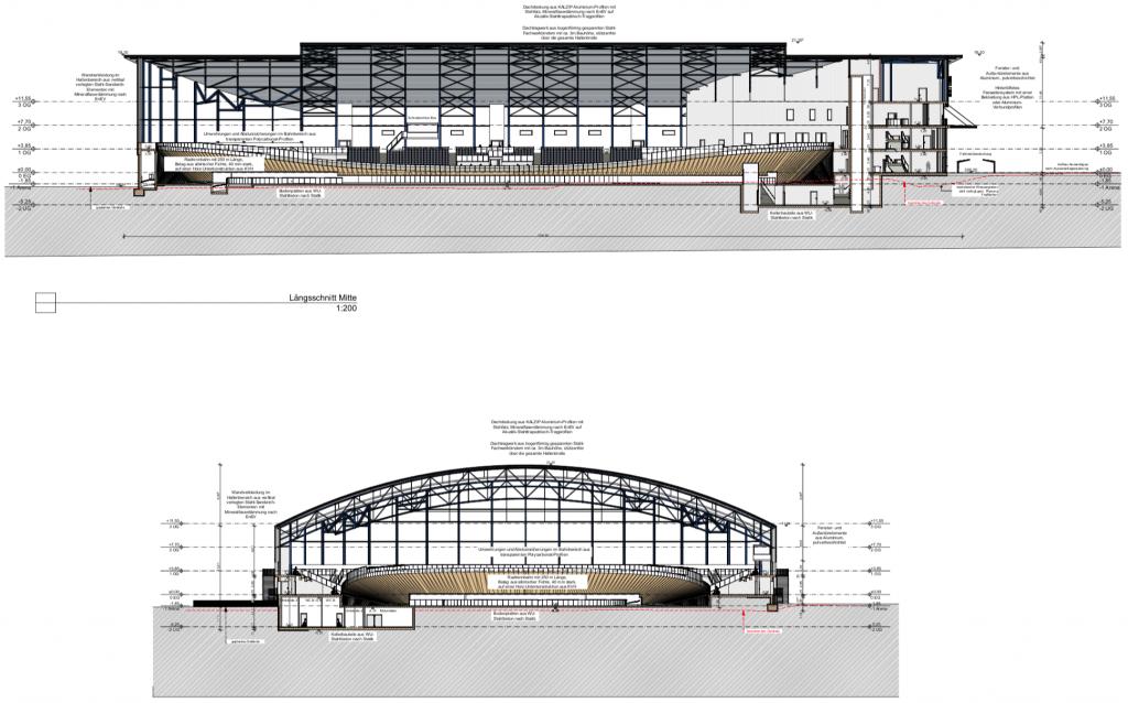 Das Bild zeigt den Längs- und Querschnitt des neuen Velodrom Nürnberg.